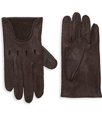 textured merino wool-trim leather gloves
