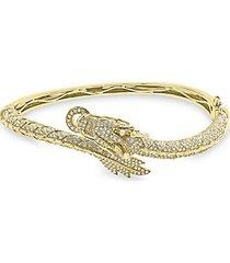 14k yellow gold, white & espresso diamond bangle bracelet