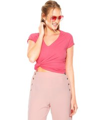 camiseta sommer raglan rosa - rosa - feminino - viscose - dafiti