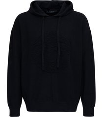 versace black cotton and cashmere hoodie