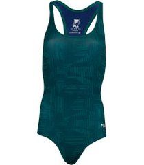 maiô para natação com proteção solar uv fila austrália print - adulto - verde escuro