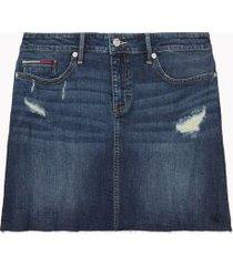 tommy hilfiger women's distressed denim skirt dark summer storm - 26
