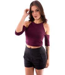 blusa cropped up side wear vazado vinho