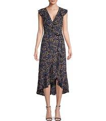 botanical-print wrap dress