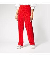 ganni women's mullin georgette trousers - fiery red - eu 42/uk 14 - red