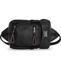 burberry logo print leo belt pack - black