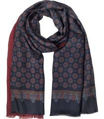 forzieri designer men's scarves, blue & burgundy modal & silk ornamental print men's fringed scarf