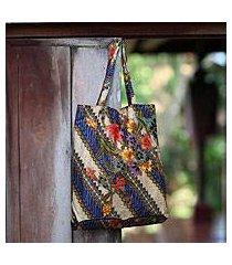 cotton batik foldable tote bag, 'jogjakarta legacy' (indonesia)