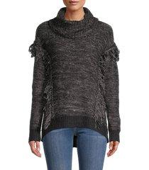 rd style women's turtleneck fringed sweater - black twist - size m