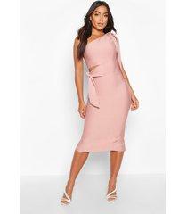 boutique one shoulder tie cut out bandage midi dress, rose
