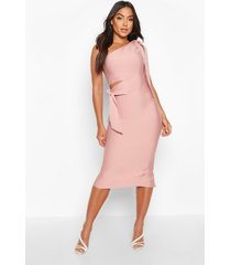 boutique one shoulder tie cut out bandage midi dress, rose