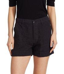 frame women's le beau linen shorts - white - size s