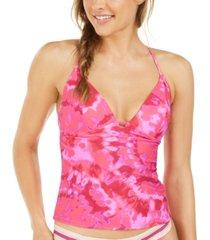 hula honey juniors' hana beach tie-dye printed push-up tankini top, created for macy's women's swimsuit