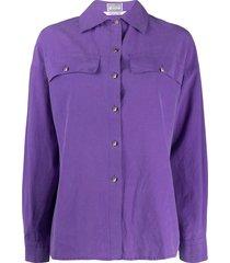 versace pre-owned 1980's cutaway collar shirt - purple