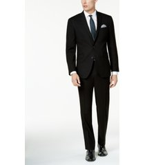 kenneth cole reaction men's big and tall techni-cole solid black slim-fit suit