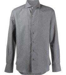 canali plain cutaway collar shirt - grey