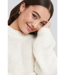 na-kd balloon sleeve oversized knitted sweater - white