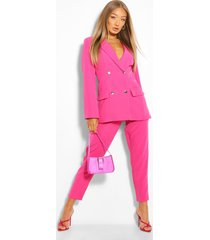 double-breasted blazer & broek set, warm roze