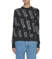 phone intarsia wool sweater