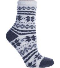 minxny women's fuzzy snowflakes double layer shea butter infused slipper socks