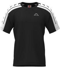 camiseta kappa 10 arset - negro/blanco