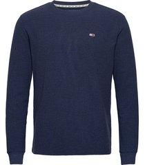 tjm mini waffle longsleeve tee sweat-shirt tröja blå tommy jeans