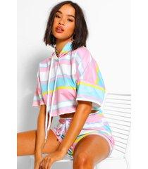 striped cropped hoodie & shorts set, pink