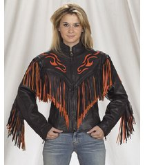 new women black handmade orange fire cowboy genuine leather jacket with leather