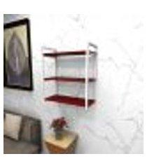 estante estilo industrial sala aço branco 60x30x68cm cxlxa mdf vermelho modelo ind25vrsl