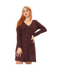 vestido chemise liso curto feminino com botão bolso decote