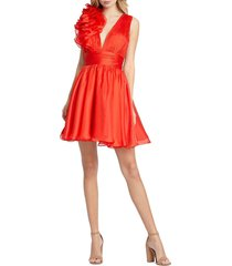 mac duggal women's rosette pintucked fit-&-flare dress - red - size 2