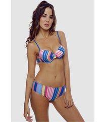 biquãni listrado com calcinha larga sob top com bojo colors - multicolorido - feminino - poliamida - dafiti