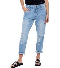 slouchy jeans low waist con corte delantero tono claro color blue