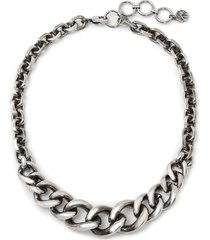 alexander mcqueen short chain necklace - silver