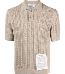 ballantyne raw-diamond knitted polo shirt - neutrals