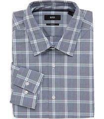 slim-fit windowpane check dress shirt