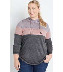 maurices plus size womens gray colorblock hoodie