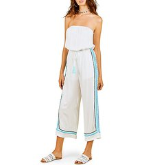 strapless wide-leg jumpsuit coverup