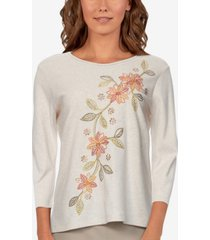 alfred dunner women's missy san antonio diagonal floral embroidered top