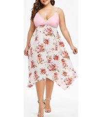 cami floral surplice plus size dress