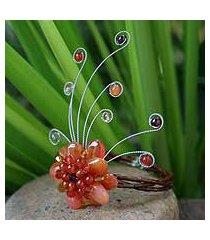 carnelian and garnet wrap bracelet, 'dream flower' (thailand)