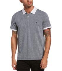 original penguin men's slim-fit textured geo jacquard polo shirt
