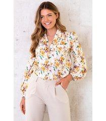 floral print blouse geel