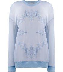 stella mccartney mesh floral embroidery sweatshirt - blue