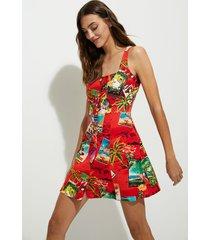 short linen pinafore dress - red - xl