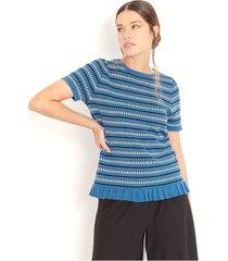 sweater multicolor semi ajustado a rayas horizontales, manga corta color-azul-talla-s