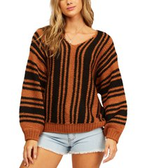billabong laid back stripe v-neck sweater, size small in coconut at nordstrom