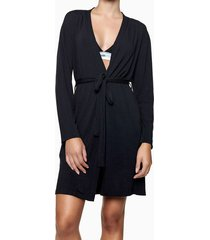 pijama feminino robe logo lateral manga longa preto calvin klein - s