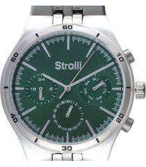 roland garros orologio multifunzione in acciaio silver con quadrante verde per uomo