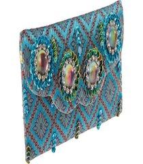 clutch  – pashmina- bordado- azul - kanui